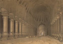 The interior of an excavated Hindoo Temple, on the Island of Salsette